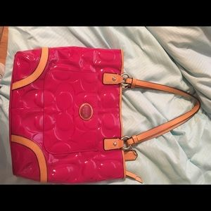 Coach Pink leather small tote